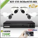 KCVI_8Chx4CVI-MX - KIT 4 cámaras XPROHD con CVR Hibrido de 8Ch