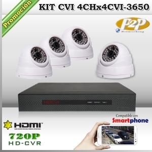 KCVI_4Chx4CVI-3650 - KIT 4 cámaras XPROHD + CVR TRI-Hibrido