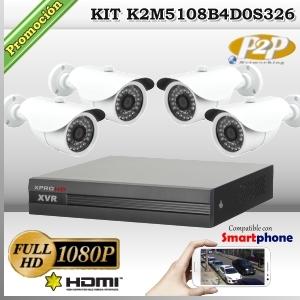 K2M5108B4D0S322 - KIT FullHD 4 cámaras XPROHD CVR HIB de 8Ch