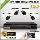 KCVI_8Chx4CVI-3651 - KIT 4 cámaras XPROHD con CVR Hibrido de 8Ch