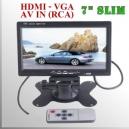 """Monitor 7"""" Led Slim FHD - HDMI VGA AV IN compatible con MDVR"""