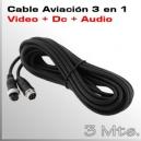 3Mts Cable Aviación 4 PIN - Video + Audio y Alimentación MDVR Movil
