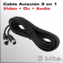 3Mts Cable Aviación 4 PIN - Video + Audio y Alimentación MDVR Movil