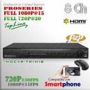 6208M | HD-CVR 8Ch | 1080p@15fps | 720p@30fps | ProSeries HD | TRIHIBRIDO