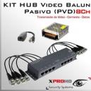 KIT 8Ch HUB BALUN Pasivo (PVD) 12v | HD-CVI / AHD / CVBS / HD-TVI