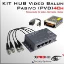 KIT 4Ch HUB BALUN Pasivo (PVD) 12v | HD-CVI / AHD / CVBS / HD-TVI