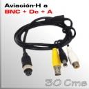 AVIACION 4 PIN A VIDEO + ALIMENTACIÓN+AUDIO (BNC+DC+RCA))