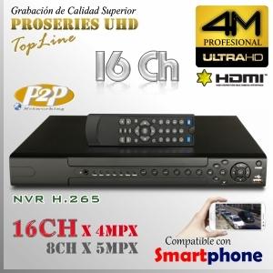 8016D-Q | 4M NVR XPROHD - 16CH x 4MP H265 H264, HDMI UHD, Sata x2, CMS