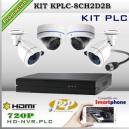 KPLC-8CH2D2B - KIT PLC HD NVR 8CH 4 cámaras 720p HD | Plug&Play