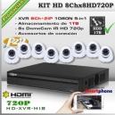 KHD-8Chx8HD720P | DISCO 1TB - KIT 8 CÁMARAS XPROHD + XVR 8CH HD