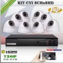 KCVI_8Chx8HD - KIT 8 cámaras XPROHD + CVR TRI-Hibrido 8CH