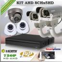 KAHD_8Chx5HD - KIT 8 cámaras XPROHD + XVR PentaHibrido 8CH
