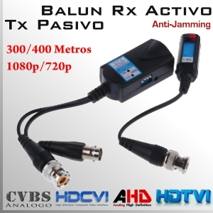 Video Balun Rx Activo + Tx Pasivo 1080p/720p 300/400Mts.