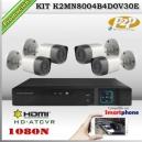 KCVI-K2MN8004B4D0V30E - KIT HD 1080N 4cámaras XPROHD CVR HIB de 4Ch