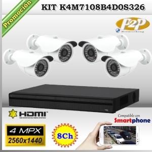 KCVI-K4M7108B4D0S326  - KIT 4Mpx 4cámaras BOX XPROHD CVR HIB de 8Ch