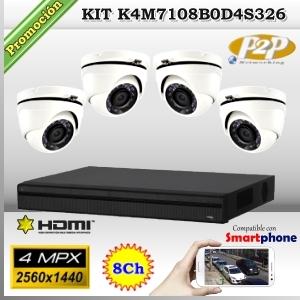 KCVI-K4M7108B0D4S326  - KIT 4Mpx 4cámaras DOM XPROHD CVR HIB de 8Ch