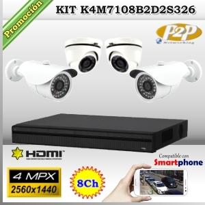 KCVI-K4M7108B2D2S326  - KIT 4Mpx 4cámaras MIX XPROHD CVR HIB de 8Ch