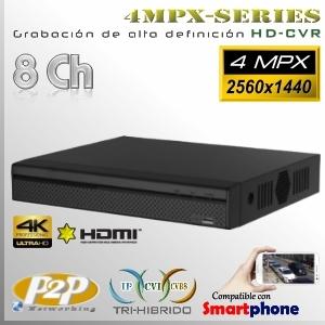 7108H | 4MPx-CVR 8Ch | 4MPx@15fps Series Tri-Hibrido Máx 8TB