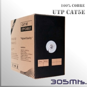 Cable UTP CAT5E CU 100% Cobre Multifilar - 305 Mts.