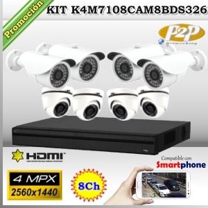 KCVI-K4M7108CAM8-BDS326 - KIT 4Mpx 8cámaras MIX XPROHD CVR HIB 8Ch