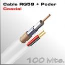 100 Mts. Cable RG59 con Alimentación Blanco