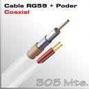 305 Mts. Cable RG59 con Alimentación