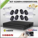 KCVI-K2MN4108B8D0V30E - KIT HD 1080N 8cámaras XPROHD CVR HIB de 8Ch