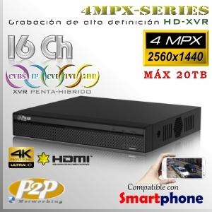 5216A-X   4MPx-XVR 16Ch o 24IP   4MPxN@15fps Series 5en1 Máx 20TB