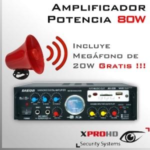 Amplificador de Audio y Sonido Alta Potencia | 80W + Megafono