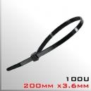 Amarras plásticas 100 unidades 200mm x3.6mm Negra