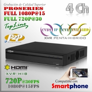 XVR 4Ch+ 2 IP HD 5en1 XPROHD 1080p@15fps HDMI VGA Satax1 Audiox1
