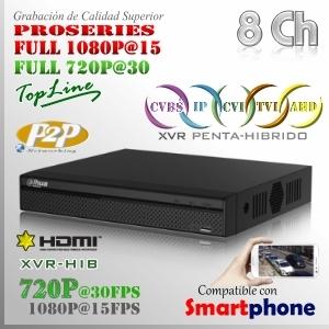 XVR 8Ch+ 4 IP HD 5en1 XPROHD 1080@15fps HDMI VGA Satax1 Audiox1
