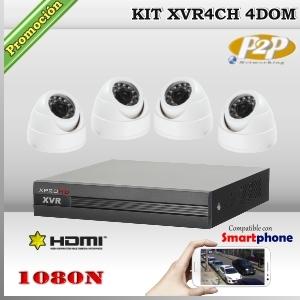 KIT HD 1080N 4cámaras DomCam XPROHD XVR 5en1 de 4Ch