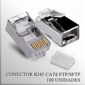 Conector RJ45 CAT6 FTP/SFTP Macho con guia x 100 unidades