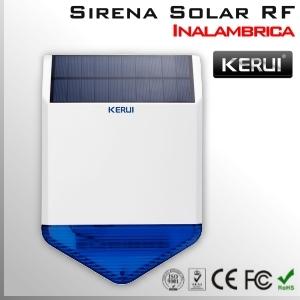Sirena solar exterior inalámbrica RF luz y sonido   KERUI