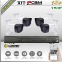KIT IP NVR8Ch 4 cámaras Box 720p HD PoE P2P