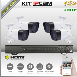 KIT IP NVR8Ch 4 cámaras Box 720p HD PoE P2P