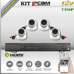KIT IP NVR8Ch 4 cámaras Domo 720p HD PoE P2P
