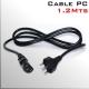 Cable Poder 220v para PC 1.2mts