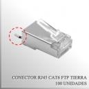 Conector RJ45 CAT6 FTP c/Tierra x 100 unidades