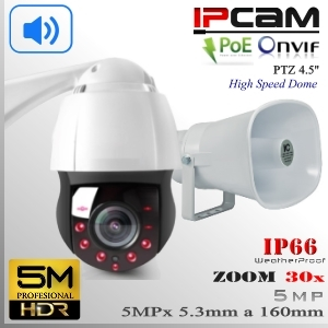 """KIT Altavoz + PTZ IP5M-9315 SpeedDome 30x 4.5"""" Sensor CMOS 5MP IR 150mts"""
