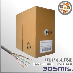 Cable UTP CAT5e 100% Cobre Unifilar - 305 Mts.