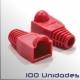 Capuchon conector Macho RJ45, Rojo, 100 Unidades