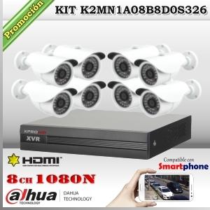 K2MN1A08B8D0 - KIT 8 cámaras XPROHD 1080p sensor SONY inside + CVR 8Ch Dahua