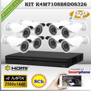 KCVI-K4M7108B8D0S326  - KIT 4Mpx 8cámaras BOX XPROHD CVR HIB de 8Ch