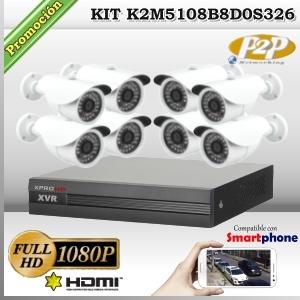 K2M5108B8D0S326 - KIT 8 cámaras XPROHD 1080p sensor SONY inside + CVR 8Ch 4MpxN/2Mpx