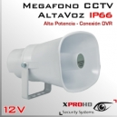 MEGAFONO CCTV Activo 12v | Altavoz | Alta Potencia | RCA IN | IP66