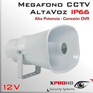 MEGAFONO CCTV Activo | Altavoz | Alta Potencia | RCA IN | IP66