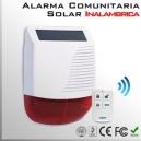 Alarma sirena comunitaria solar exterior inalámbrica RF luz y sonido