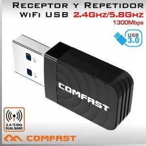 5Ghz y 2.4Ghz USB 3.0 WIFI inalámbrico 1300Mbps Adaptador y Repetidor